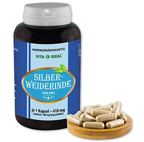 VITA IDEAL ® Silber-Weide-Rinde (Salix alba) 180 Kapseln je 410mg, aus rein natürlichen Kräutern, ohne Zusatzstoffe