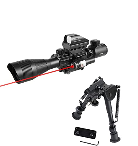 Pinty Rifle Scope 4-12x50EG Rangefinder Mil Dot Tactical Reticle Scope with Laser Sight and Red Dot Sight&Rifle Bipod with 6-9 inch Height Adjustable Adapter Aircraft Grade Aluminum Construction