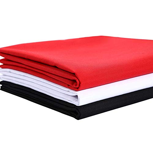 3 Pieces 60 x 36 Inch Poly Cotton Broadcloth Fabric Polyester Blended Cotton Fabric, Cotton and Polyester, White, Black, Red