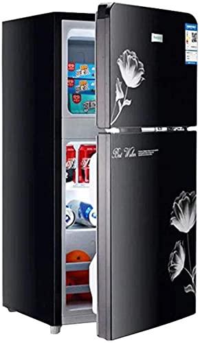 showyow 53L freistehender Kühlschrank Doppeltür Einstellbare Temperatur Gefrierschrank Mit Regal Kompressor Niedrigenergie Gefrierschrank Geräuscharm Schwarz 87CM