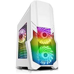 CiT G Force - Alloggiamento per PC per videogiochi, con ventola a 15 LED blu frontale bianco Wht RGB