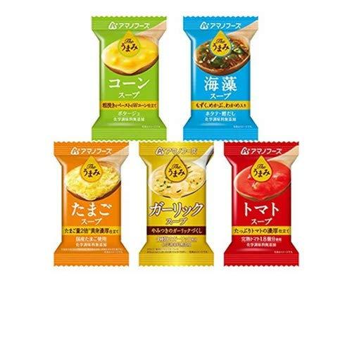 アマノフーズ Theうまみ スープ5種セットx60個セット(10食×6箱入)(たまご・海藻・コーン・トマト・ガーリック/フリーズドライ ドライフード)