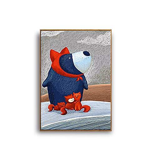 SDFSD Cartoon Bär Fuchs Familie Wandering Drifting Flasche Nettes Tier Kinderzimmer Qualität Home Decor Poster Wandkunst Leinwand Malerei 60 * 90cm