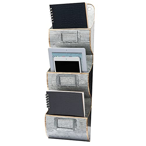 Mind Reader Farmhouse File Organizer, 3-Tier Hanging Wall Pocket Decorative Mail Sorter, Magazine Display for Office, Lobby, Reception, Galvanized, Silver