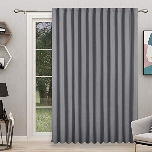 FLOWEROOM Room Divider Curtain, 8.3ft Wide x 7ft Long, Grey – Blackout Curtains for Bedroom Partition/Living Room, Large Thermal Back Tab/Rod Pocket Privacy Curtain Panel for Sliding Door