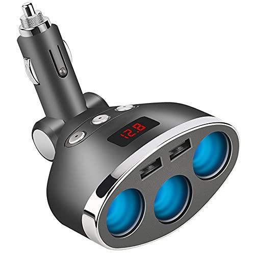 ihreesy Cargador de Coche Encendedor Cigarrillos,Cargador Mechero con 3 Adaptador de Mechero Y 2 Puertos USB 12V/24V Adaptador de Encendedor Cigarrillos con Voltímetro LED Interruptor Independiente