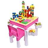 burgkidz Set Tavolo e Sedia per Bambini Tavolo da attività in Plastica Rosa con Piastra di Base per Bambine, Scrivania per Bambini con 1 Sedia e Mattoni da 128 Pezzi