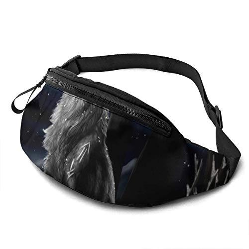 AOOEDM Black Universe Wolf Fashion Casual Riñonera Fanny Pack Travel Riñoneras Bolsillo para Correr para Hombres y Mujeres