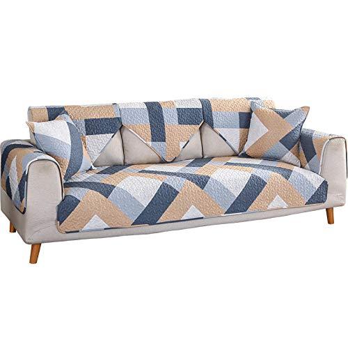 YUTJK Fundas de Almohada cuadradas Funda de sofá, Suaves para el sofá, el Dormitorio y el Coche,Twill Impreso Acolchado Sofá de algodón-marrón_70×210cm