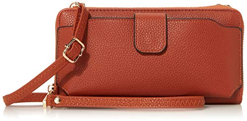 Amazon Essentials Wristlet Wallet Crossbody Phone Bags for Women with Card Slots Cognac