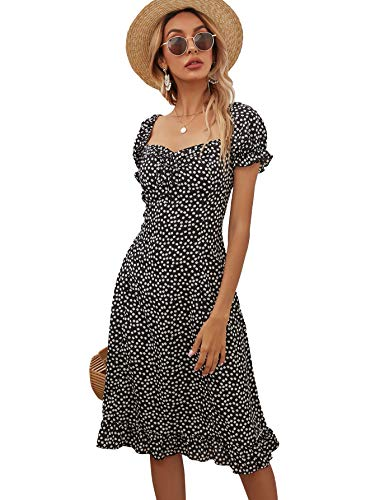 Floerns Women's Ditsy Floral Sweetheart Puff Sleeve A Line Midi Dress Black and White M