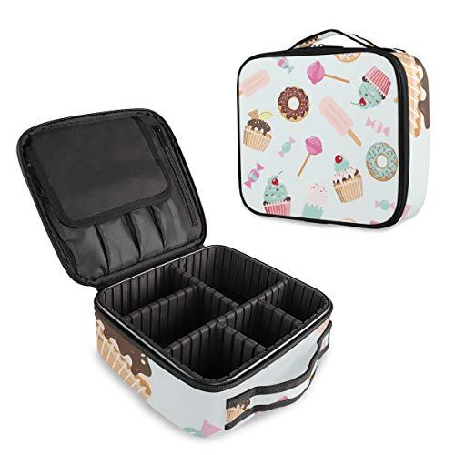 Mnsruu - Trousse de rangement portable pour cupcakes, crème, beignets, cerise et cosmétiques, sac de rangement portable avec séparateurs réglables
