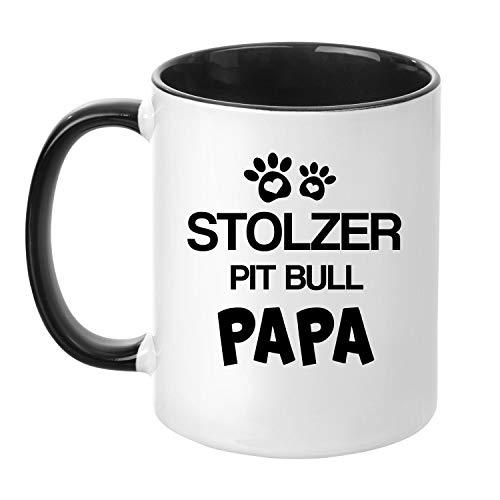 TassenTicker® - ''Stolzer Pitbull Papa'' - Kaffeetasse - Hunde-Tasse - Hundebesitzer - Herrchen - Geschenkidee - Schwarz