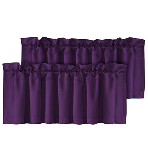 "H.VERSAILTEX 2 Panels Blackout Curtain Valances for Kitchen Windows/Bathroom/Living Room/Bedroom Privacy Decorative Rod Pocket Short Winow Valance Curtains, 52"" W x 18"" L, Plum Purple"