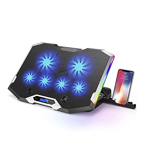Cojín de enfriamiento de la computadora portátil compatible con gran tamaño Enfriador de ala de plata, iluminación portátil, compatible con el fanático del enfriador de 11-18 ', 6 ventiladores de vien