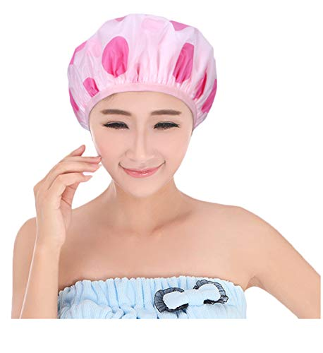 CSM Women's PEVA Double Waterproof Shower Cap Red