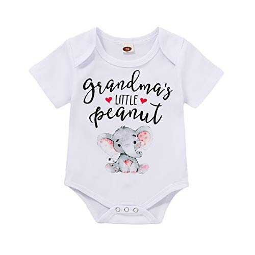Infant Baby Girls Boys Grandma's Little Peanut Short Sleeve Romper Bodysuit Causal Outfits (White, 3-6 Months)