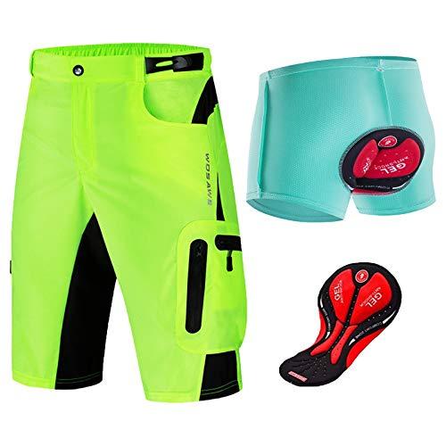 YQA Pantalones Cortos Bragas de Bicicleta, Pantalones Cortos de Ciclo Holgados de Hombres, con Cierres de Velcro Ajustables, para Fitness, Entrenamiento, Correr,Green+Blue,XX~Large