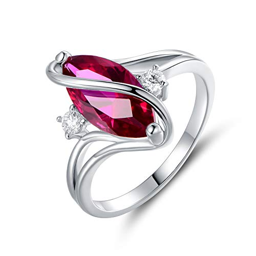 Barzel White Gold Plated White Fire Opal Created & Cubic Zirconia Accents Ring (White Gold Ruby, 10)