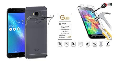 compatible Para Asus Zenfone 3 Max zc553kl X00DD (5.5) Funda Cover Case Soft Slim Gel Silicona Suave TPU + Película Vidrio Templado 9H Antigolpes Transparente