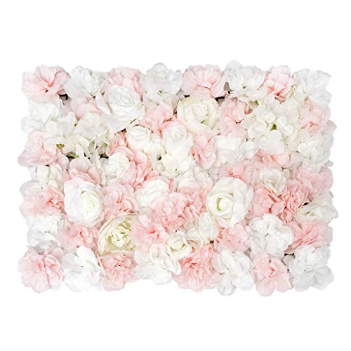 Shiwaki Paneles de Flores Flores Artificiales Pantalla de Pared Telón de Fondo Floral romántico Seto Decoración del hogar Fondo del Banquete de Boda (Rosa densa y Rosa Blanca)