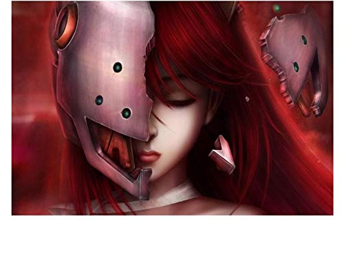 REDWPQ Wall Art Picture Poster Decoración del hogar Lucy Girl Red Hair Anime Canvas Poster Print 40 * 60 Cm sin Marco