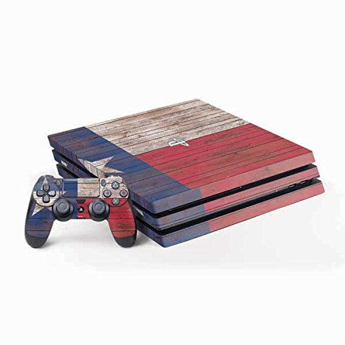 Skinit Decal Gaming Skin for PS4 Pro Console and Controller Bundle - Originally Designed Texas Flag Dark Wood Design
