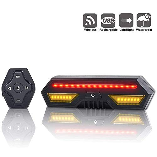 Bike Tail Light with Turn Signals-Wireless Remote Control Waterproof Bicycle Taillight-USB Rechargeable Ultra Bright Safety Warning Bike Brake Rear Lights-Easy Installation
