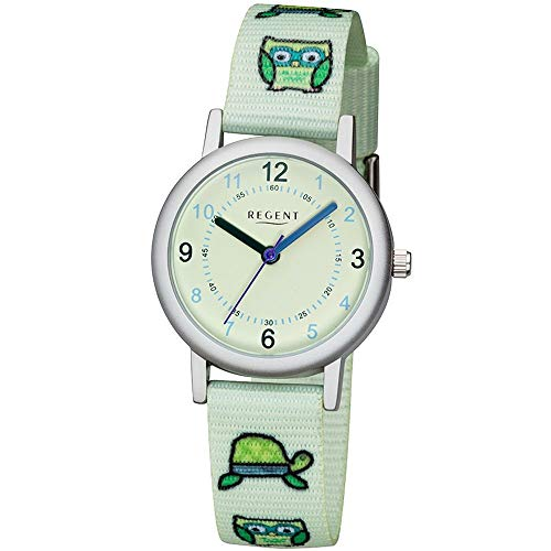 Regent Kinder-Armbanduhr Elegant Analog Textil Stoff-Armband mintgrün Quarz-Uhr Ziffernblatt mintgrün URF1127