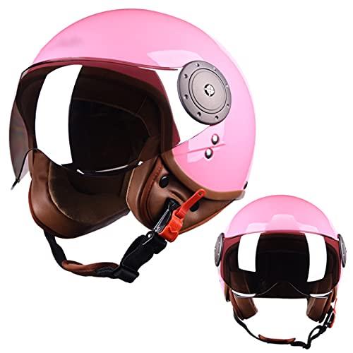 NINOMI Adult Retro Motorcycle Helmet, Moped Street Jet Helmet DOT Certified Light Brown Lens 3/4 Helmet Cruiser Motorcycle Helmet Pink Open Half Helmet