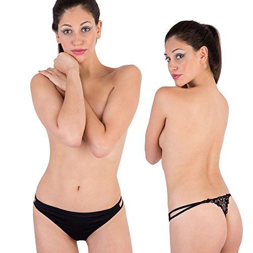 Lady Bella Lingerie Club 55 PA0665 Completino Sexy Hot Reggiseno Push Up con Inserti in macramè e Apertura Frontale e String Coppa B by