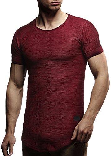 Leif Nelson Herren Sommer T-Shirt Rundhals-Ausschnitt Slim Fit Baumwolle-Anteil Moderner Männer T-Shirt Crew Neck Hoodie-Sweatshirt Kurzarm lang LN6324 Bordeaux M