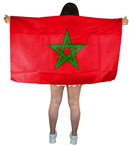 Sonia Originelli Fan Poncho Umhang Flagge Fußball WM Länder Cape Farbe Marokko