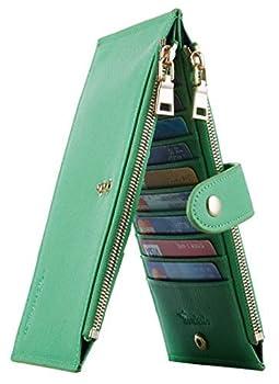 Travelambo Womens Walllet RFID Blocking Bifold Multi Card Case Wallet with Zipper Pocket Crosshatch  Green Grass 7307