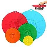solawill Tapas de Silicona, 5 Tazones de silicona succión Cubiertas reutilizables para tazones de silicona para Lavavajillas, Microondas, Horno o Refrigerador