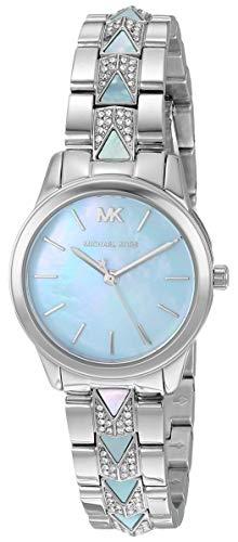 Michael Kors Women's Runway Mercer Quartz Watch with Stainless Steel Strap, Silver, 14 (Model: MK6857)