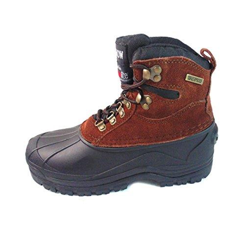 kingshow Men's Waterproof 1280 Wine Genuine Leather Work Boots 9 M US