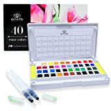 40 Watercolor Paint Set Portable Water Colors Set Includes Water Brushes Sponges Mixing