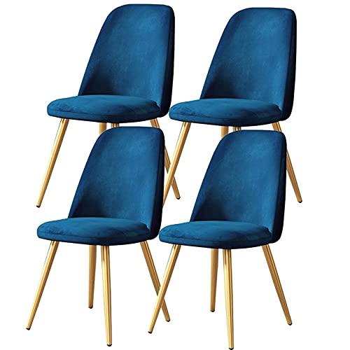 ADGEAAB Juego de 6 sillas de comedor para cocina, sala de estar, salón, mesa, sillas laterales con patas de metal, asiento de terciopelo y respaldos (color azul)