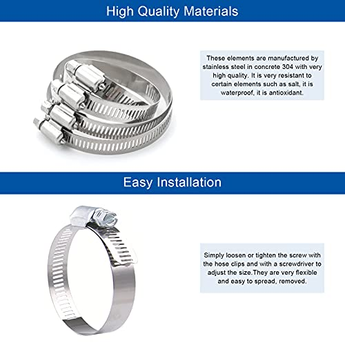 ActFun 24 Pieces Hose Clamp, Stainless Steel Adjustable 10-16mm Range Worm Gear Hose Clamp, Pipe Clamp, Fuel Line Clamp for Plumbing, Automotive And Mechanical Application