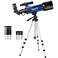 Emarth Telescope Travel Scope 70mm Astronomical Refracter Telescope with Tripod & Finder Scope (Blue)