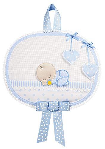FILET Lazo de nacimiento para bordar con bebé dormido, blanco