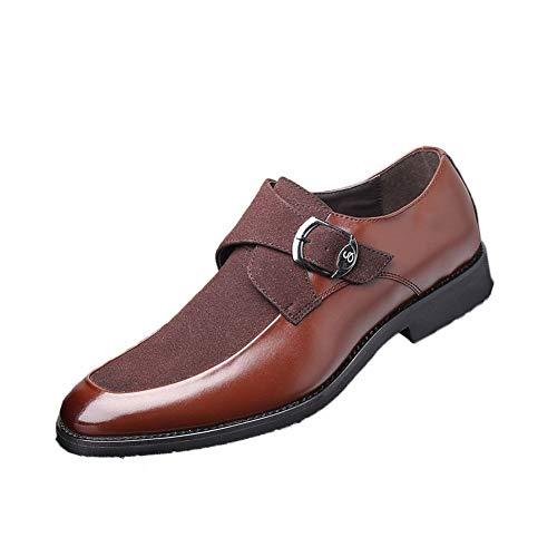 Zapatos de cuero para hombres Oxfords para hombres zapatos de vestir hebilla negocio celuloide cuero y gamuza plana antideslizante punta redonda de punta baja superior sin dividir correa de monje Prim