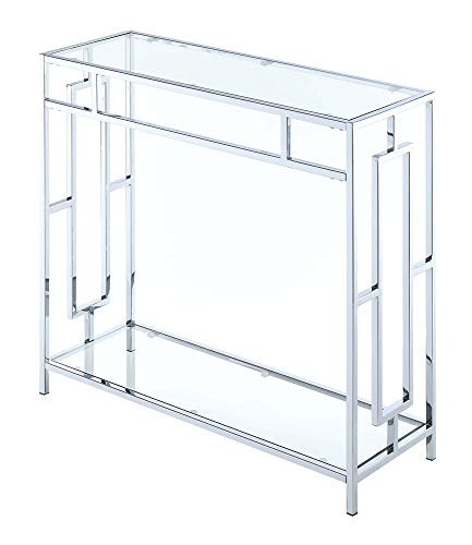 Convenience Concepts Town Square Chrome Hall Table, Clear Glass / Chrome Frame