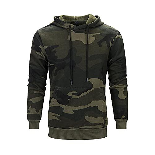 Herren Kapuzenpullover Kapuzenjacke Hoodie Slim Fit Camouflage Sweatshirt Langarm Patchwork Pullover-Shirt mit Kapuze Sportjacke Outdoorjacke