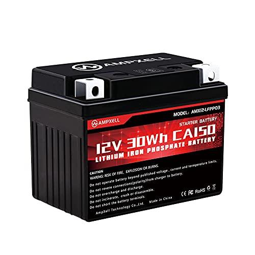 AMPXELL Batería para motocicleta de iones de litio de 12 V CCA150, tamaño 113 * 70 * 85 MM, repuesto para YB4L-B / YTX4L-BS/YTC4L-BS, BCTX5L-FP-S / YTX5L-BS YTX7L-BS, YTZ7S