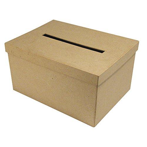 Rayher 67202000 Pappmaché Geschenkkartenbox, Größe 30x21x15, Briefbox, zum Verzieren, natur, kraft