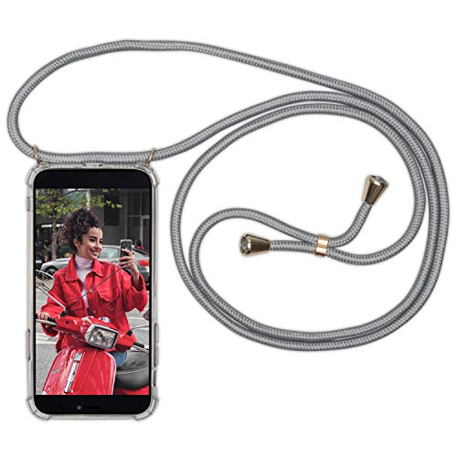 Expatrié Handykette kompatibel mit iPhone 8 Plus/iPhone 7 + Grau Damen Lola Smartphone Necklace Hülle mit Band - Transparente Handyhülle mit Kordel zum Umhängen - Hochwertige Crossbody Handy Kette