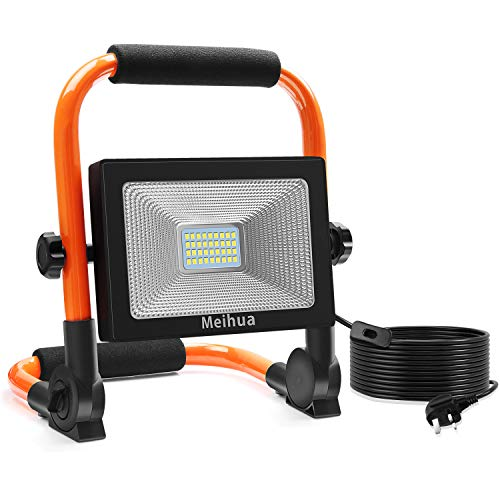 MEIHUA Led Work Light 30W 3400LM Portable Light LED Floodlight IP66 Waterproof Construction Lights with Stand for Workshop Job Site Garage Camping Daylight White Non-Rechargeable 5m Wire with Plug