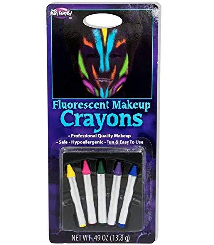 Fun World Unisex-Adult's Flourescent Makeup Crayons, Multi, Standard